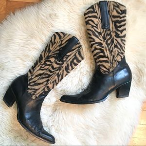 Leather & Animal Print Pointed Toe Cowboy Boot